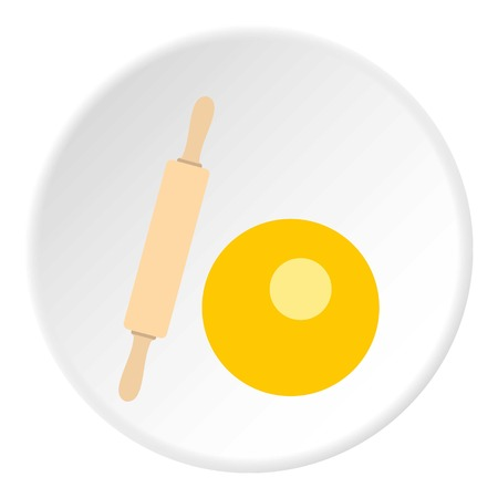 Dough and rolling pin icon circle