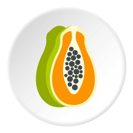 Sliced fresh papaya icon circle