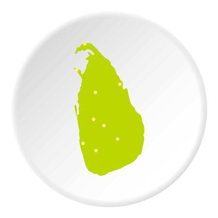 Sri Lanka green map icon circle