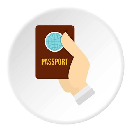 emigration: Passport icon circle Illustration
