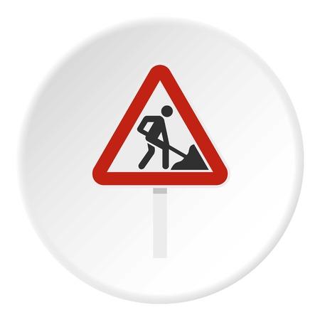 Roadworks sign icon circle