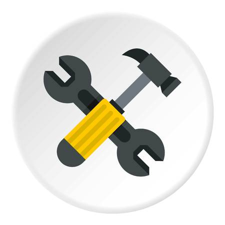 Crossed wrench and hammer icon circle