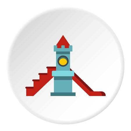 Colorful playground slide icon circle