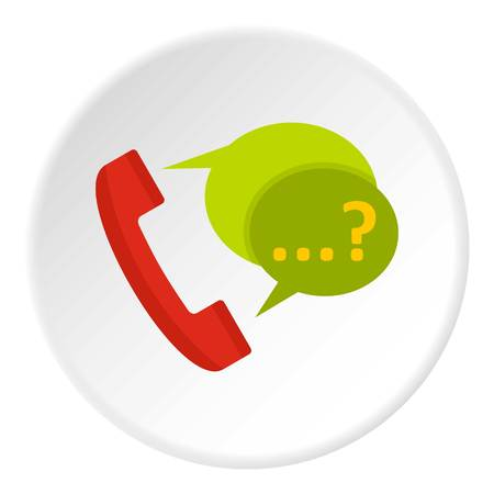 old telephone: Phone with question mark speech bubble icon in flat circle isolated vector illustration for web