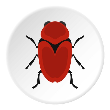 Red beetle icon circle