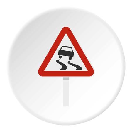 Slippery als natte verkeersbord icoon cirkel Stock Illustratie