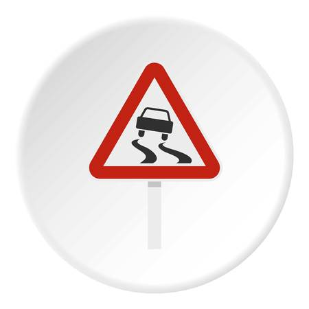 Slippery when wet road sign icon circle