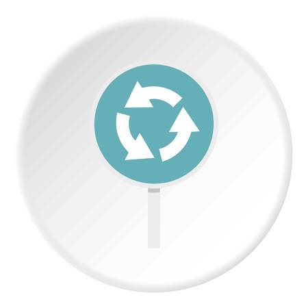 roadsign: Blue round road sign with arrows icon circle Illustration