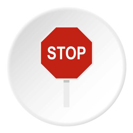 Arrêt rouge icône du panneau routier cercle