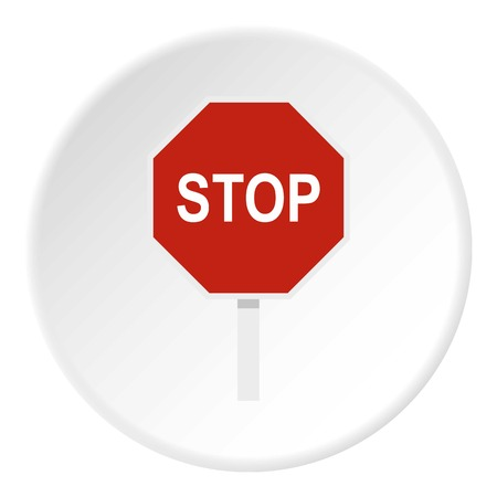 Red stop road sign icon circle Illustration