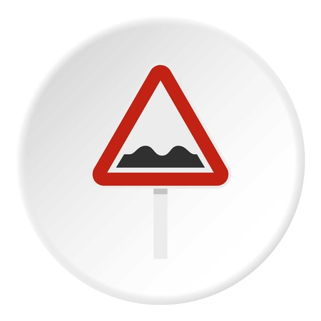 the roadside: Bumpy road sign icon circle
