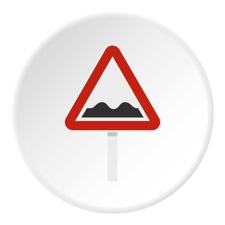 Bumpy road sign icon circle