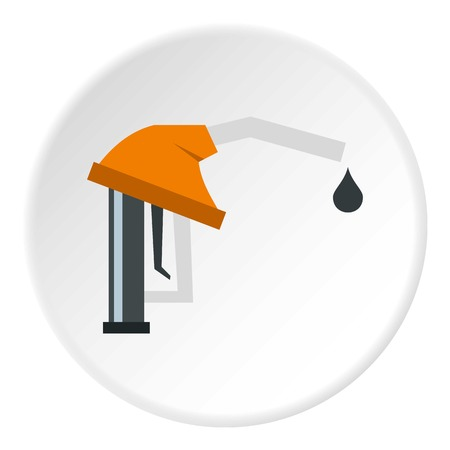 Orange gasoline pump nozzle icon circle