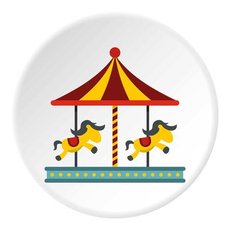 Children carousel with colorful horses icon circle Illustration