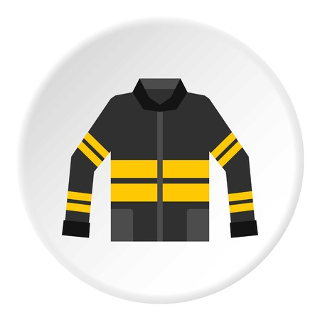 Black and yellow firefighter jacket icon circle