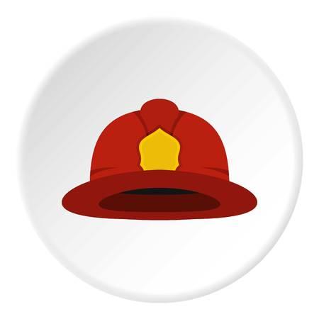 Red fireman helmet icon circle Illustration