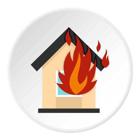 Flames from house window icon circle