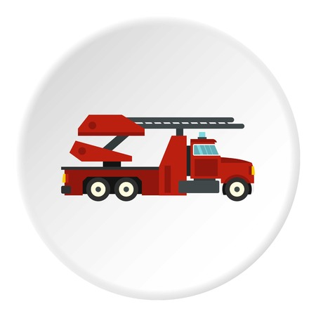 emergency engine: Red fire truck icon circle