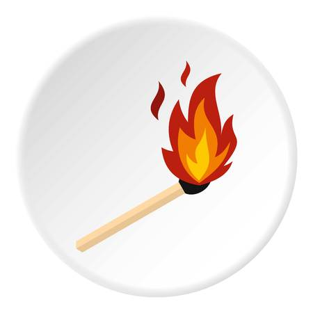 Match with fire icon circle Illustration