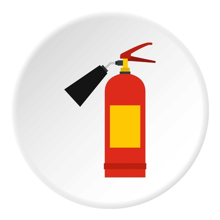 inflammable: Red fire extinguisher icon circle