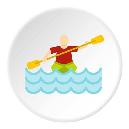 paddler: Kayaking water sport icon circle