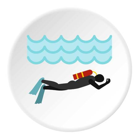Aqualanger in diving suit icon circle