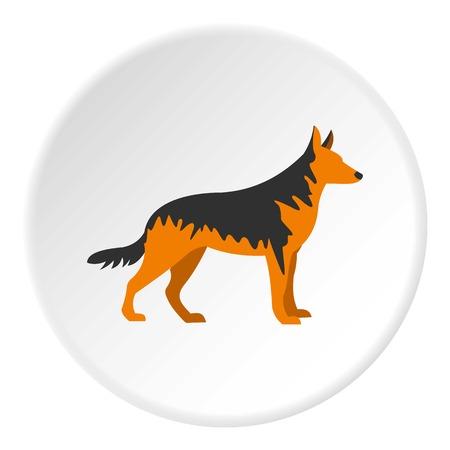 German Shepherd dog icon in flat circle isolated vector illustration for web Illustration