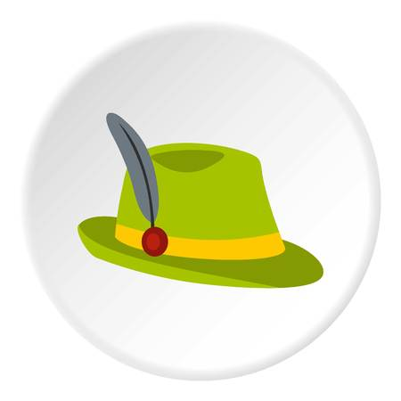 tirol: Green hat with feather icon in flat circle isolated vector illustration for web