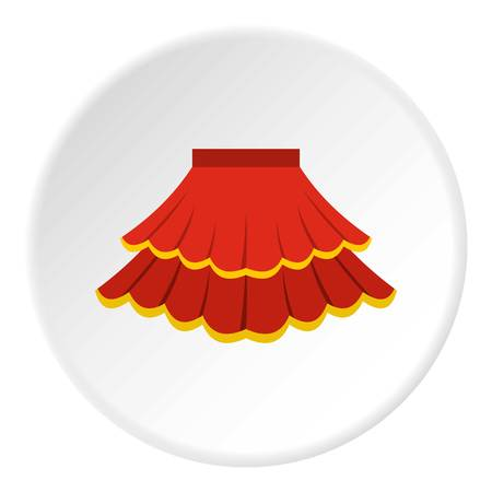frill: Skirt icon in flat circle isolated vector illustration for web