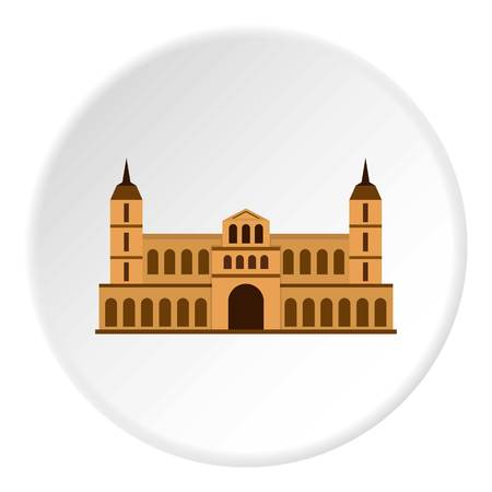 Castle icon in flat circle isolated vector illustration for web Illustration
