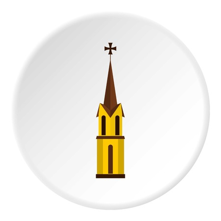 Church icon in flat circle isolated vector illustration for web Illustration