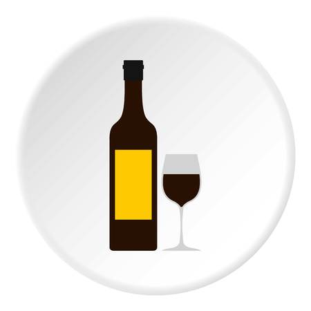 Bottle of wine icon in flat circle isolated vector illustration for web Illustration