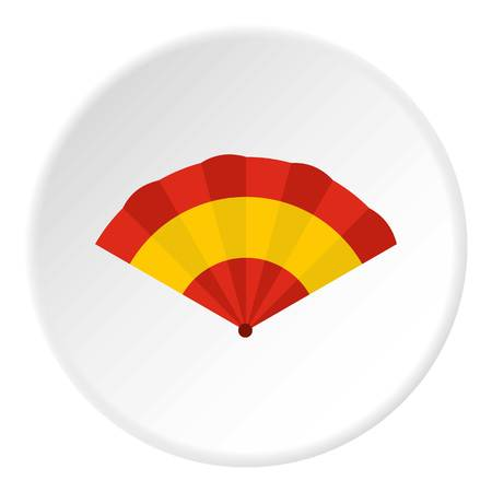 Fan icon in flat circle isolated vector illustration for web