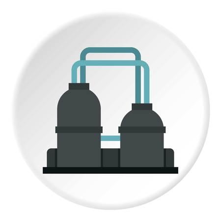 powerhouse: Oil refinery plant icon circle