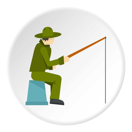 pier: Fisherman sitting with fishing rod icon circle Illustration