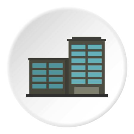 Manufacturing factory building icon in flat circle isolated vector illustration for web Illustration