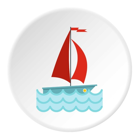 Yacht with red sails icon circle