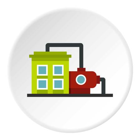 Factory building icon in flat circle isolated vector illustration for web