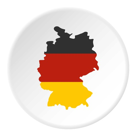Germany map with national flag icon circle