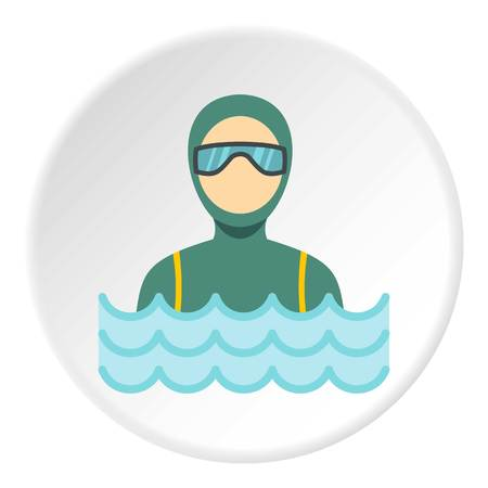 Scuba diver man in diving suit icon in flat circle isolated vector illustration for web Illustration