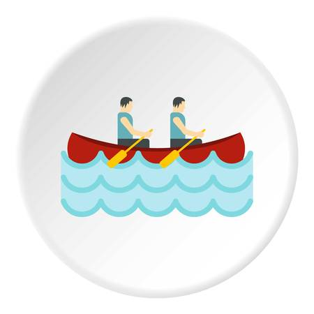 Canoe with two athletes icon in flat circle isolated vector illustration for web
