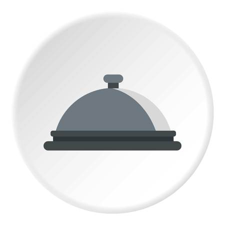 Restaurant cloche icon in flat circle isolated vector illustration for web