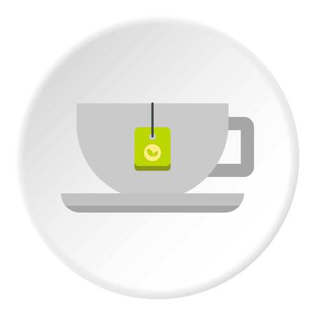 long bean: Coffee cup icon in flat circle isolated vector illustration for web
