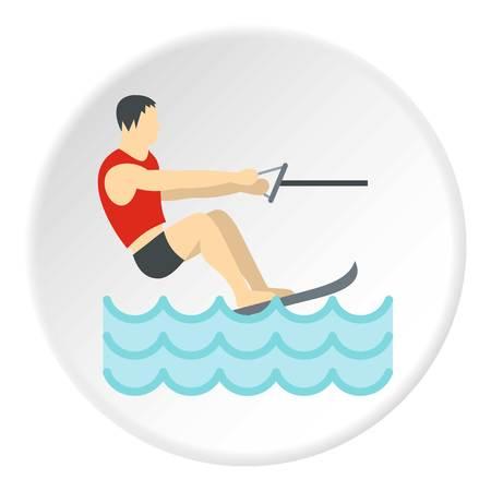 Water skiing icon circle