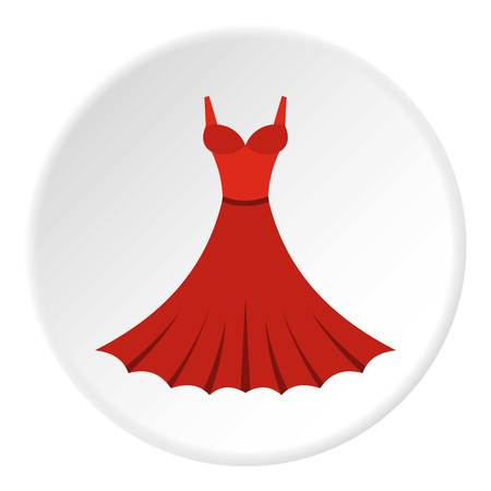 Dress icon in flat circle isolated vector illustration for web