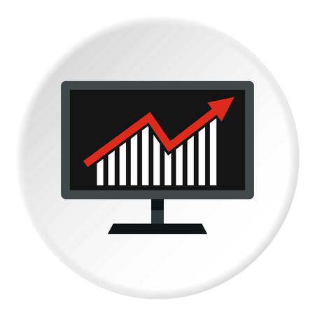 infochart: Statistics on monitor icon in flat circle isolated vector illustration for web