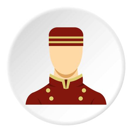 porter: Doorman in red uniform icon in flat circle isolated vector illustration for web Illustration