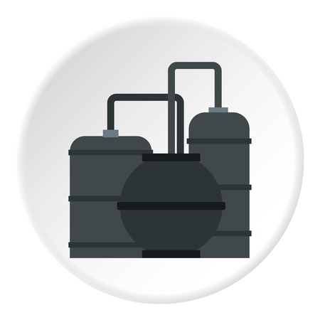 Oil refinery icon in flat circle isolated vector illustration for web
