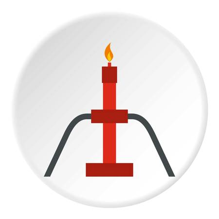 Burning oil gas flare icon in flat circle isolated vector illustration for web