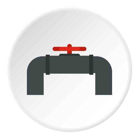Pipeline with valve and handwheel icon in flat circle isolated vector illustration for web Illustration